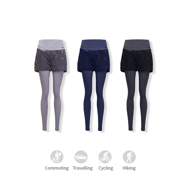 Women's Lightweight False Two Pieces Cooling Leggings UPF50+