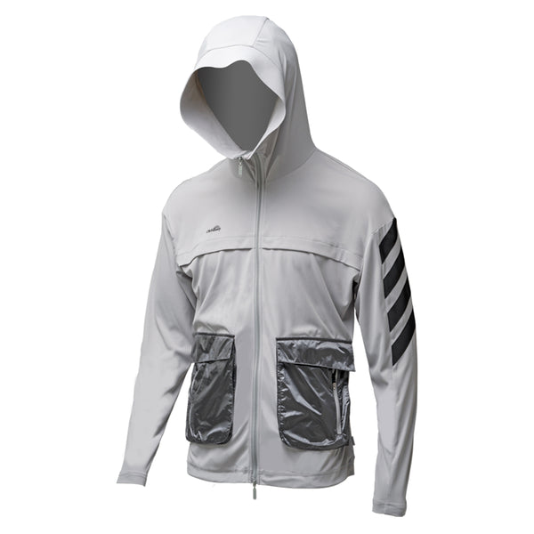 White Men's Lightweight Sports Big Pocket Zip Hoodie UPF50+