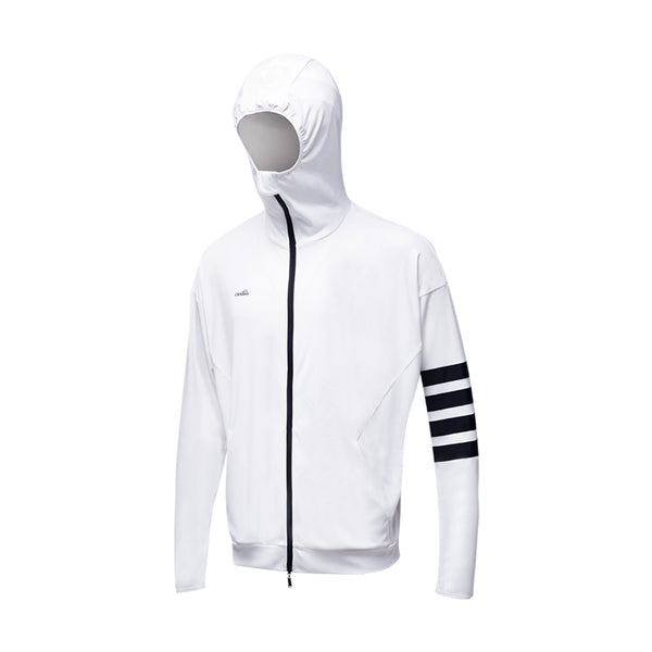 White Men's Lightweight Leisure Zip Biking Hoodie UPF50+