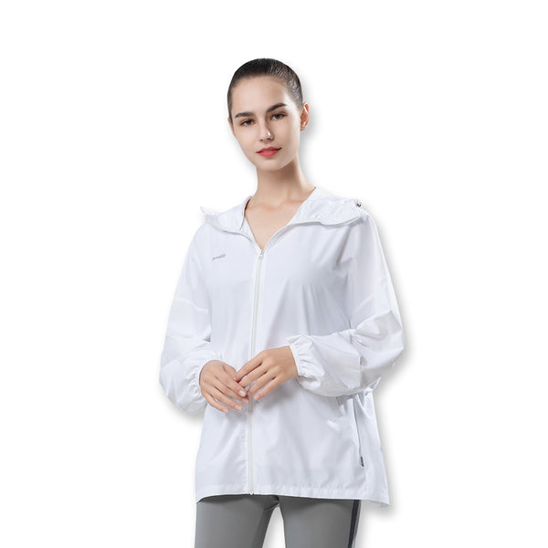 White Women's Lightweight Leisure Sunscreen Hoodie UPF50+