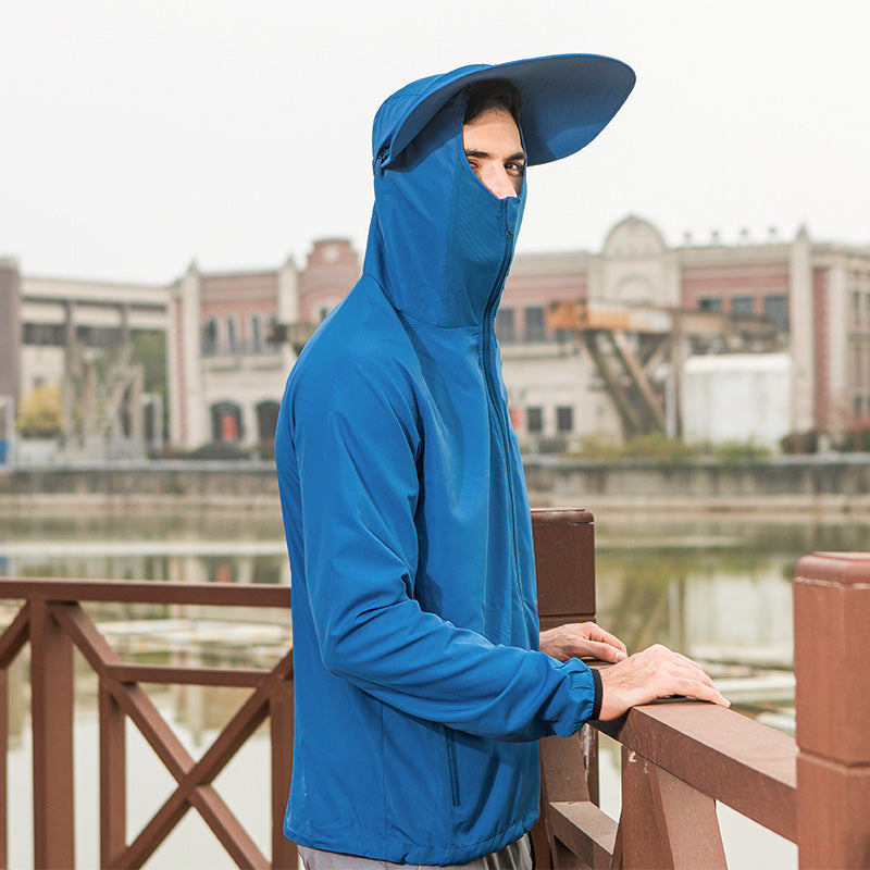 Blue Men's Fishing Lightweight Sun-protective Hoodie UPF50+