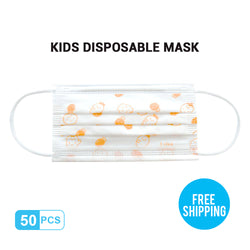 Orange-print Kid's Breathable Activated Carbon Disposable Mask 50pcs