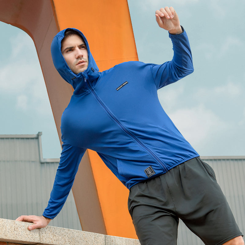 Blue Men's Lightweight High Collar Sun-Protective Hoodie UPF50+