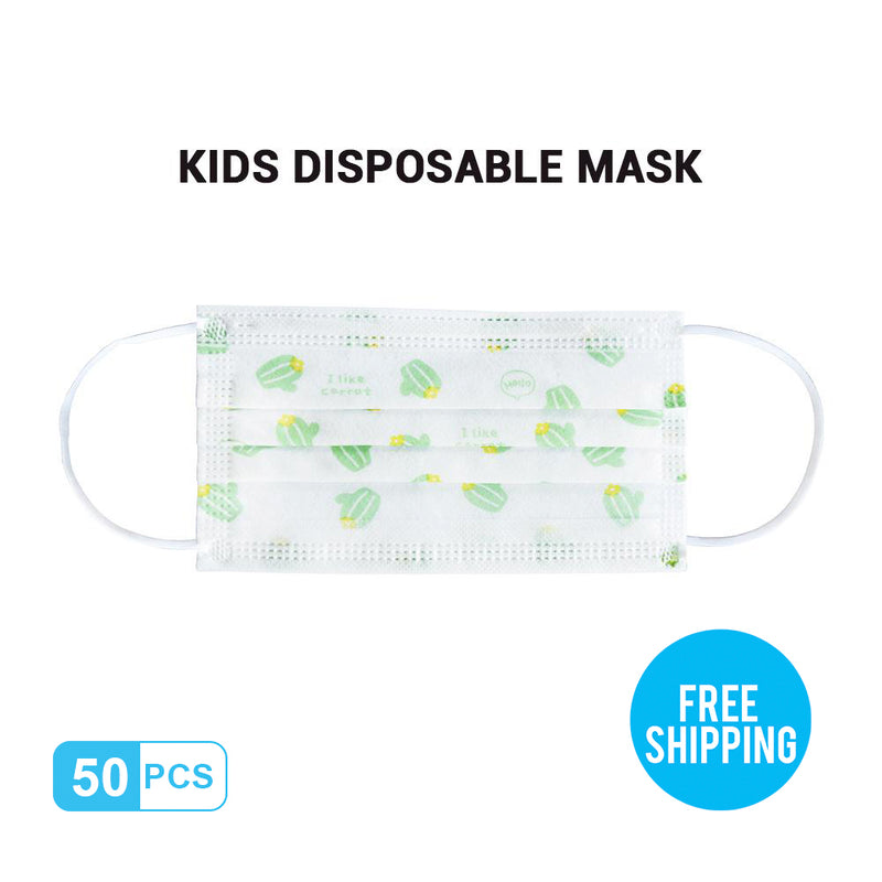 Green-print Kid's Breathable Activated Carbon Disposable Mask 50pcs