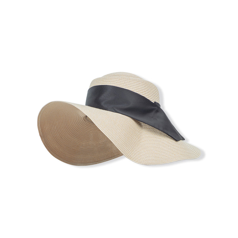 Cream-black Women Ribbon Huge Brim Straw Sun Hat UPF50+