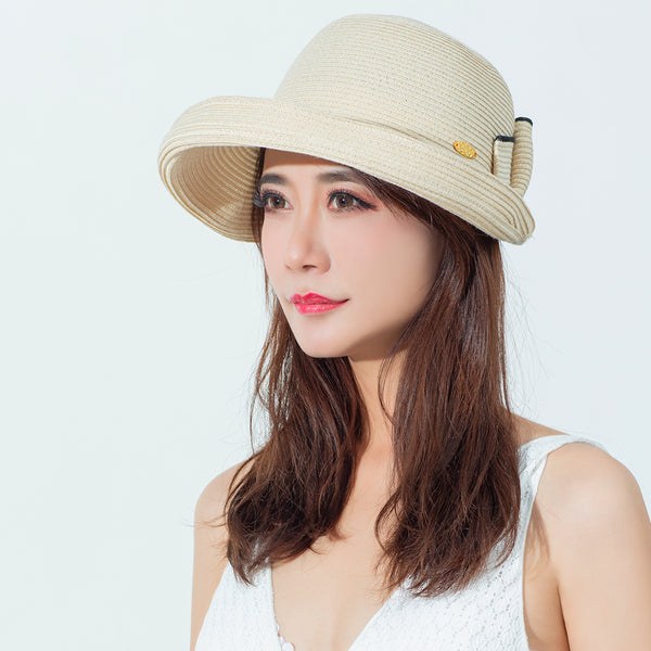 Women's Foldable Front Big Brim Sun Protection Straw Hat UPF50+