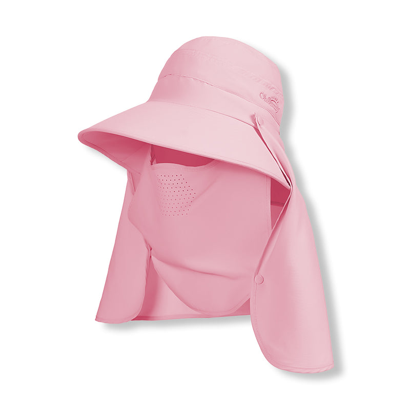 Pink New Large Brim Breathable Face Protection Fishing Sun Hat UPF50+