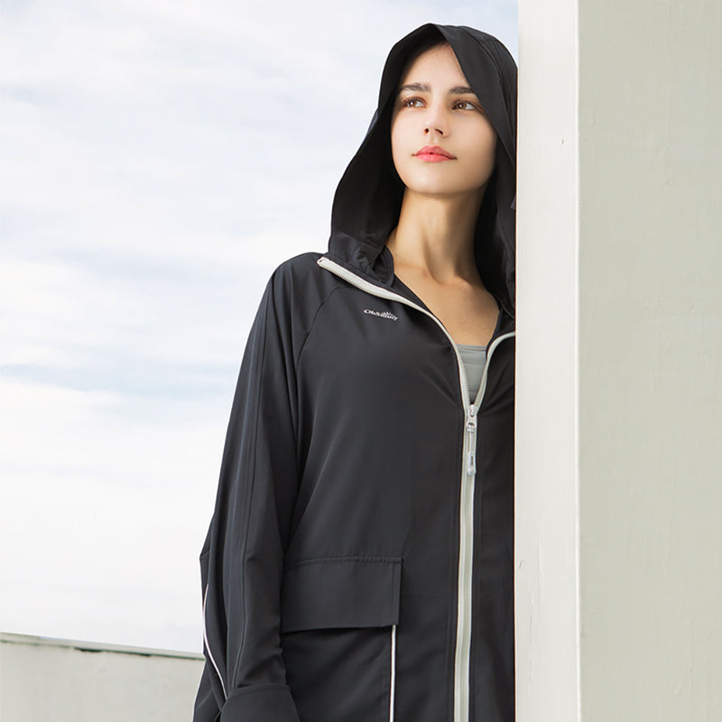 Black Women's Outdoor Thin Sunprotection Hoodie UPF 50+
