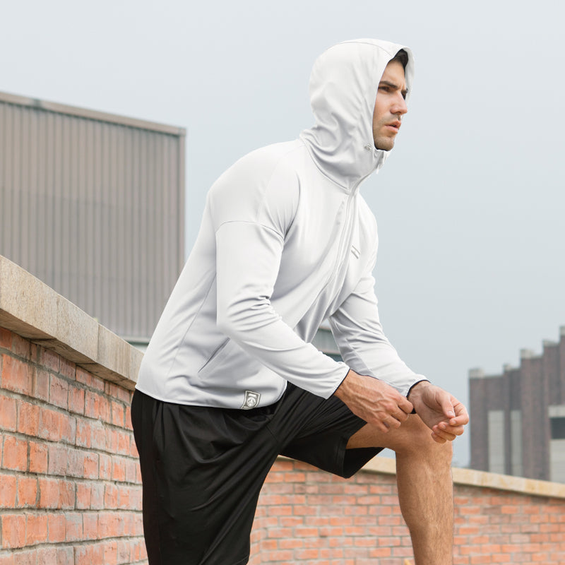 White Men's Lightweight High Collar Sun-Protective Hoodie UPF50+