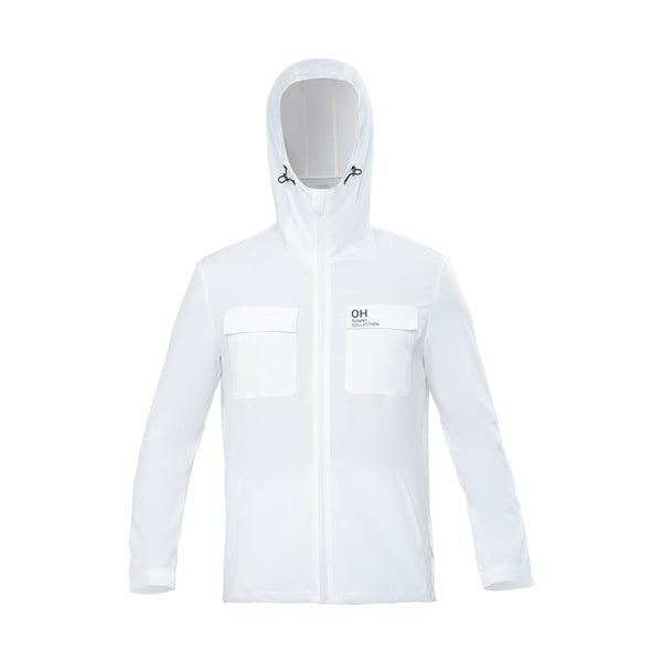 White Men's Lightweight Loose High Collar Hoodie UPF50+