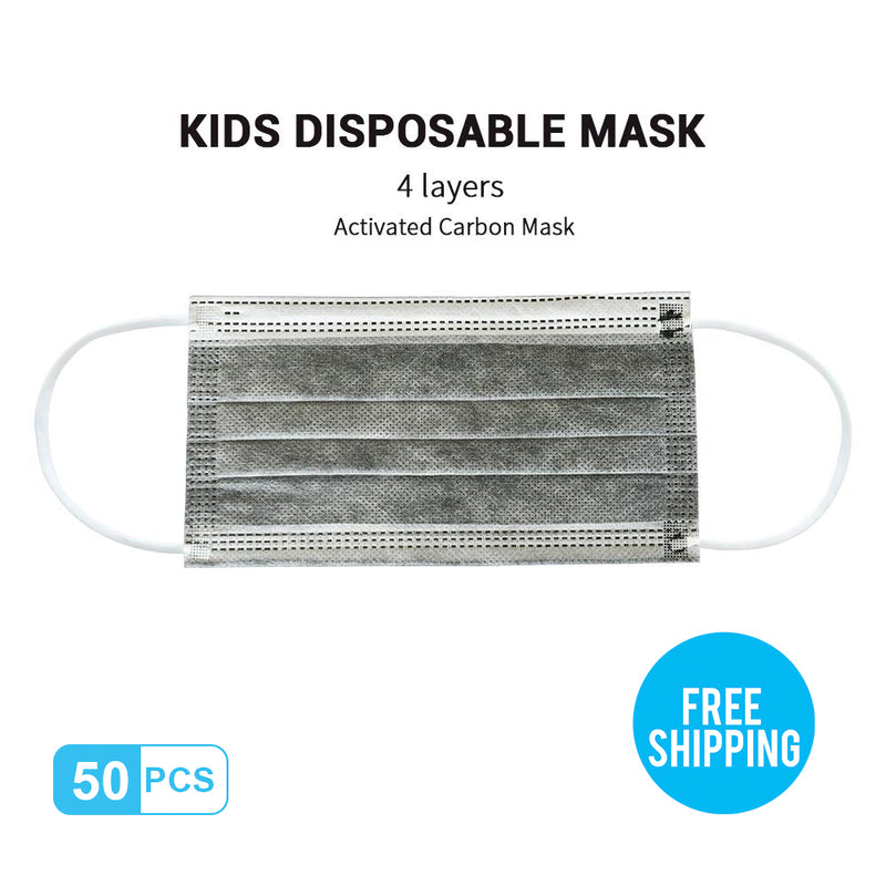 Dark-grey Kid's Breathable Activated Carbon Disposable Mask 50pcs