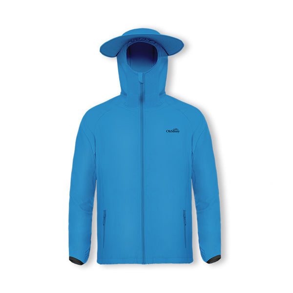 Blue Men's Lightweight Fishing Sun-protective Hoodie UPF50+