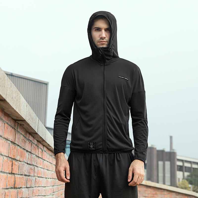 Black Men's Lightweight High Collar Sun-Protective Hoodie UPF50+