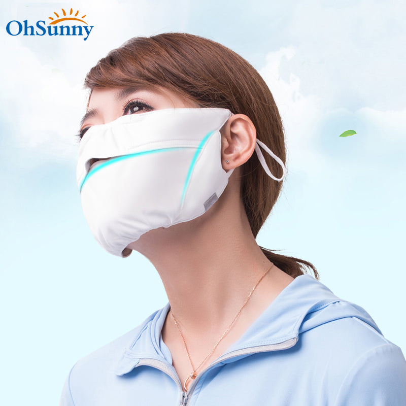 Two pieces breathable Neck Protection Sunscreen Mask UPF50+