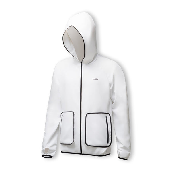 White Men's Lightweight Big Pocket Long Sleeve Biking Zip Hoodie UPF50+