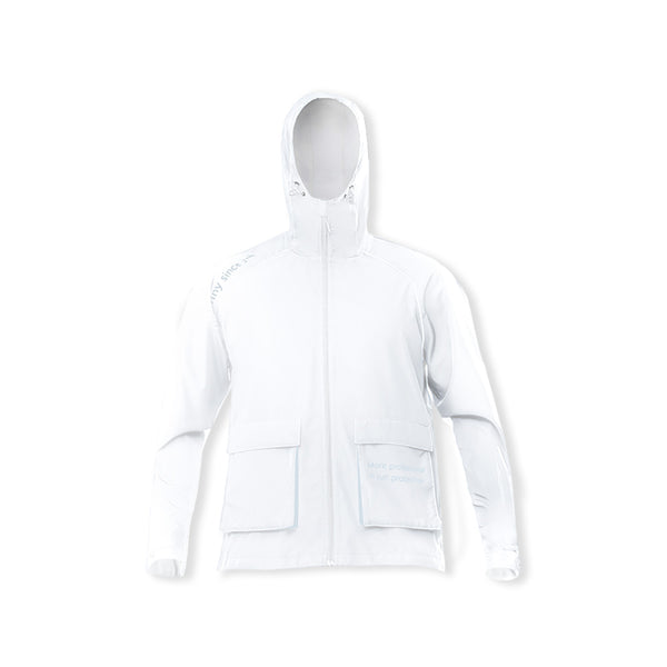 White Men's Cargo Sunscreen Hoodie UPF50+