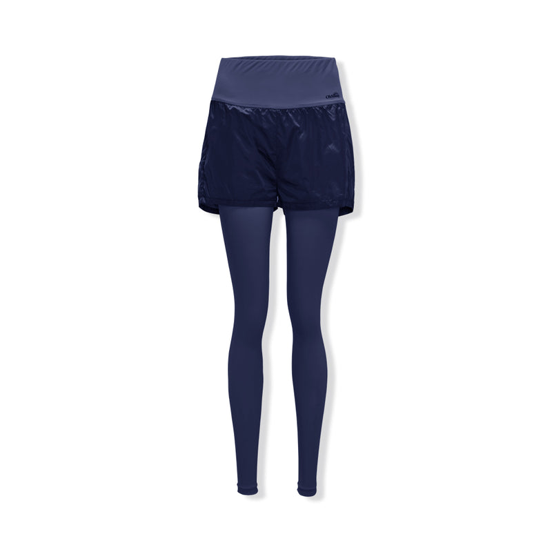Dark-blue Women's Lightweight False Two Pieces Cooling Leggings UPF50+