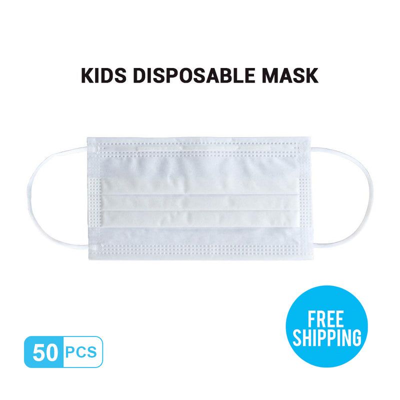 White Kid's Breathable Activated Carbon Disposable Mask 50pcs