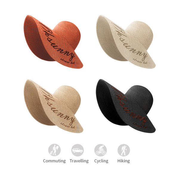 Women Printing Huge Brim Straw Swinger Hat Upf50+