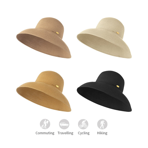 Women's Foldable Big Brim Sun Protection Straw Hat UPF50+