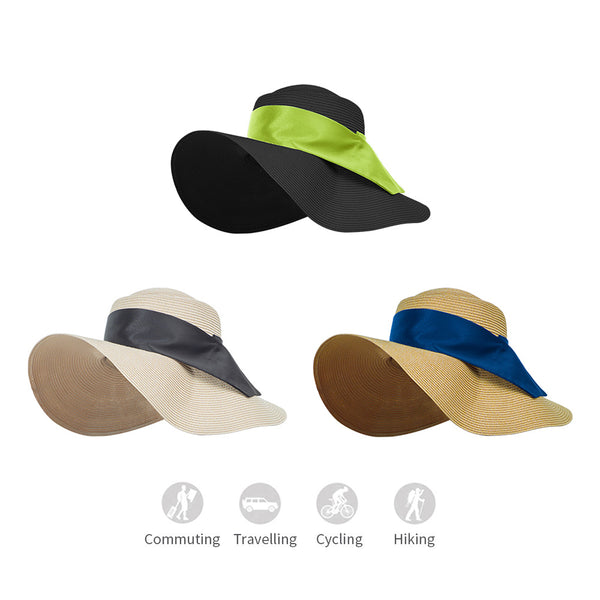 Women Ribbon Huge Brim Straw Sun Hat Upf50+