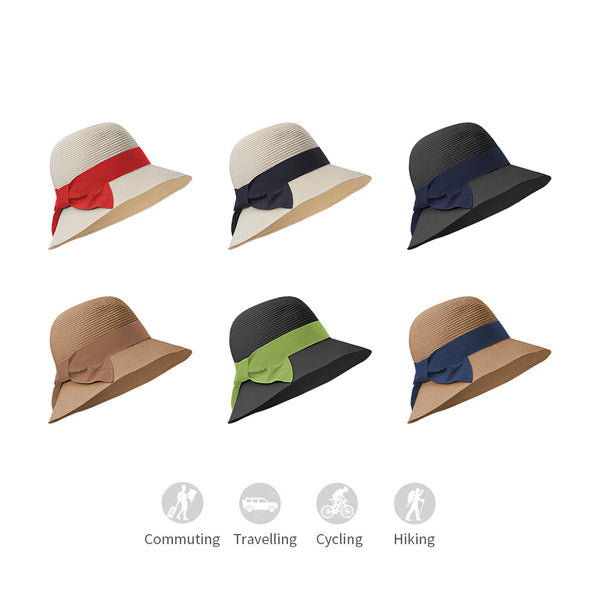 Women Ribbon Straw Bucket Hat Upf50+