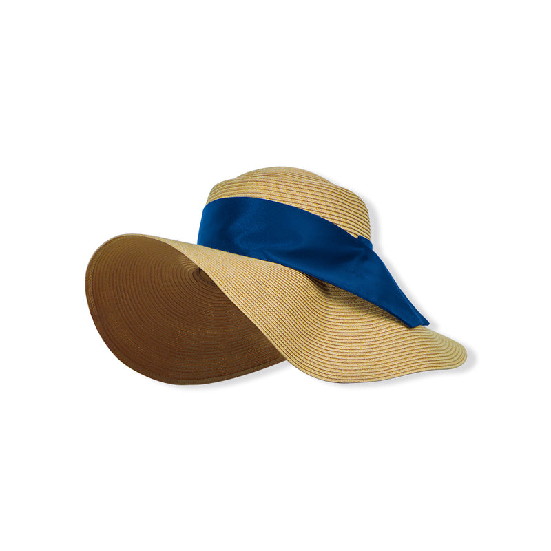 Light brown-blue Women Ribbon Huge Brim Straw Sun Hat UPF50+