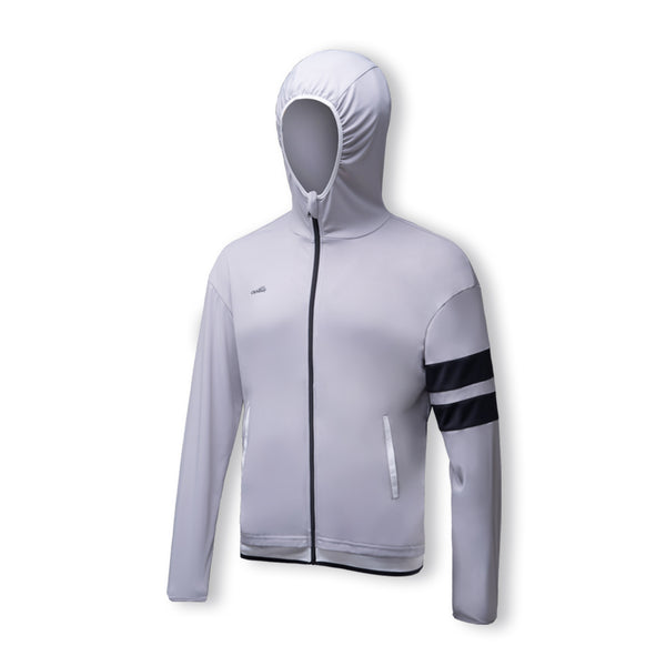 White Men's Lightweight Stand Collar Zip Hoodie UPF50+