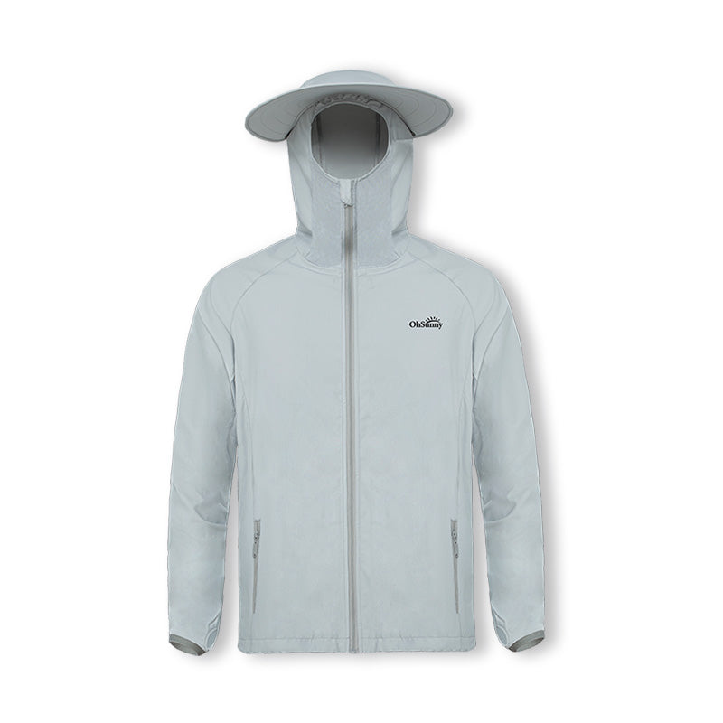 Grey Men's Fishing Lightweight Sun-protective Hoodie UPF50+
