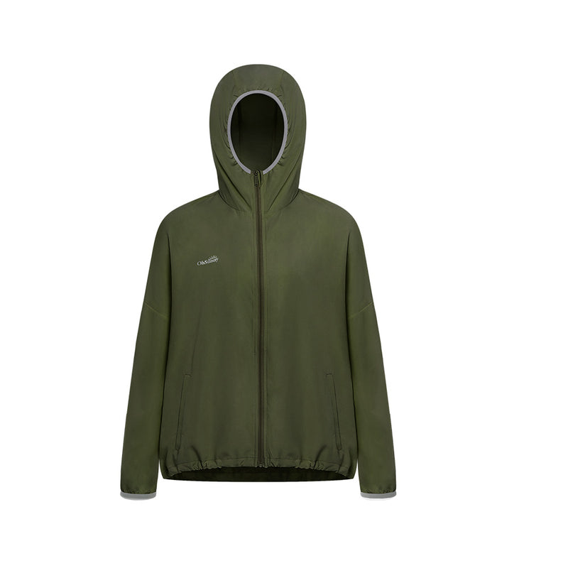 Army-green Women's Standard Stand Collar Sun-protective Hoodie UPF50+
