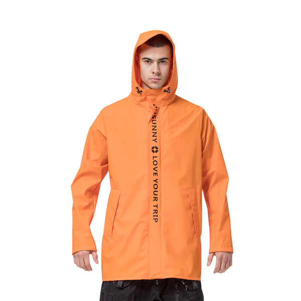 Orange Men's Lightweight Sunscreen Waterproof Trench Coat UPF50+