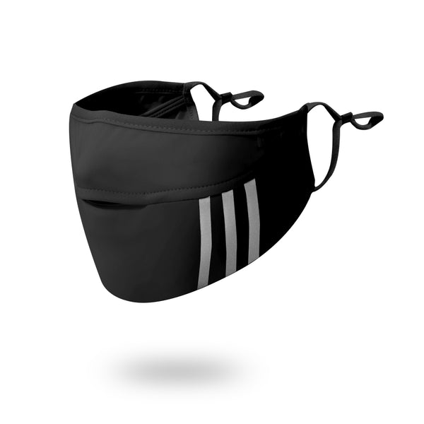 Black Breathable Nose Hole Biking Sunscreen Face Mask With Three Stripes UPF50+ Edit