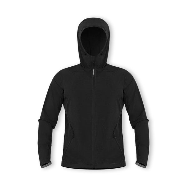 Black Men's Lightweight High Collar Sunscreen Boating Zip Hoodie UPF50+
