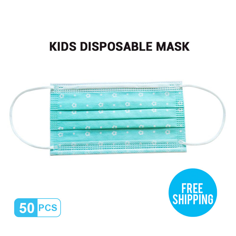 Lake-blue Kid's Breathable Activated Carbon Disposable Mask 50pcs