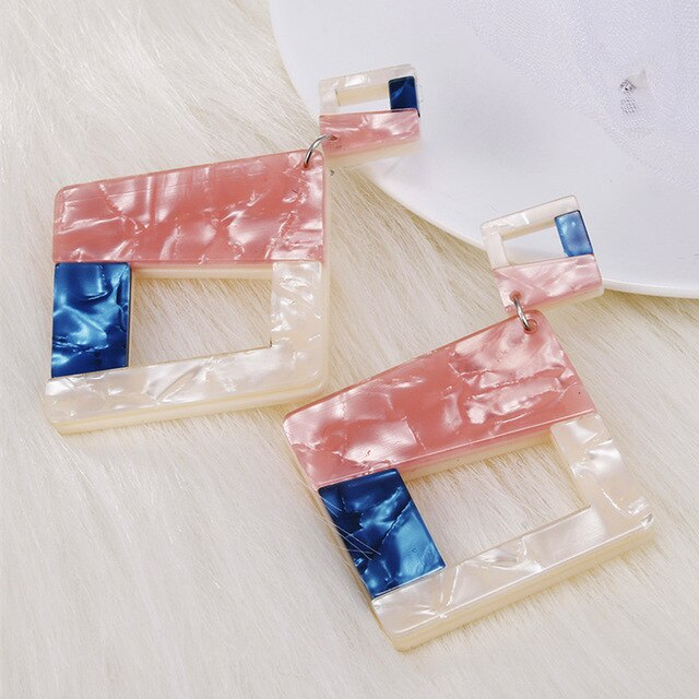 Statement Acrylic Big Geometric Square Earrings