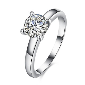 1.90 CTTW Princess Cut Solitaire Stone Ring Set in White Gold