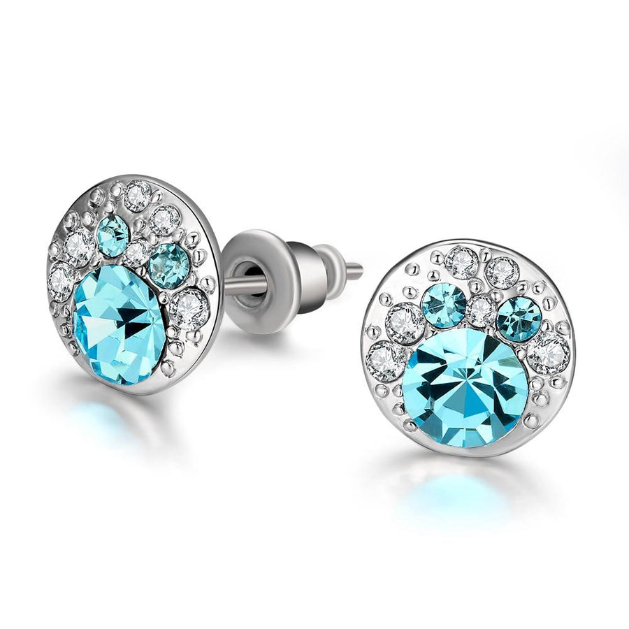 Periwrinkle Blue Swarovski Elements Studs in 18K White Gold
