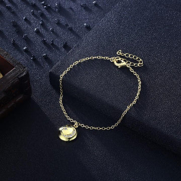 Swarovski Cresent Moon & Star Bracelet in 18K Gold Plated