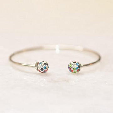 18K White Gold Rainbow Swarovski Ball Open Bangle
