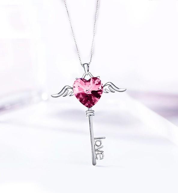 Heart Shaped Pink Swarovski Elements Dangling Key Necklace in 14K White Gold