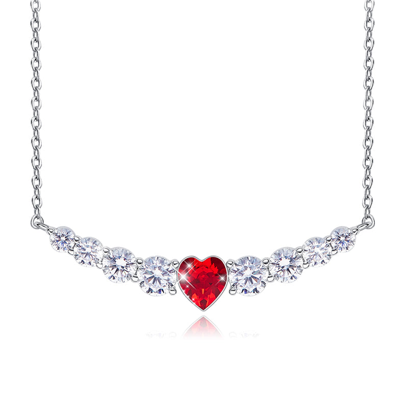 Swarovski Crystals 8.00 CT Ruby Heart  Necklace