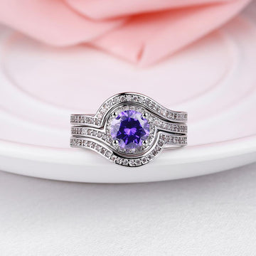 1.90 CTTW Tanzanite Curved Pav'e In White Gold Ring