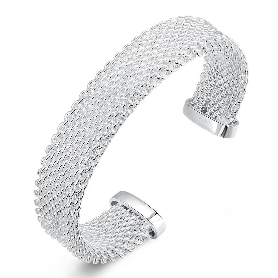 Silver Mesh Knot Open-Cuff Bangle