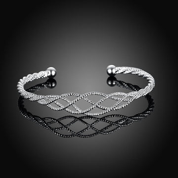 Silver Plated Intertwined Honeycomb Matrix Women's Bangle