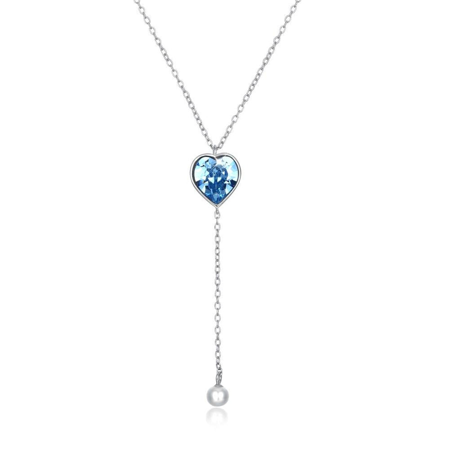 Bermuda Blue Swarovski Crystals Sterling Silver Pave Heart Drop Necklace