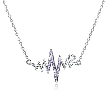 Amethyst Beating Heart Sterling Silver Swarovski Crystal Necklace