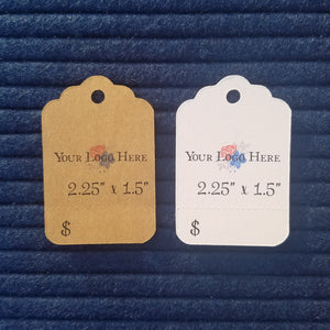 "2.25"" x 1.5"" Rectangle with Scalloped Top Hang Tags"