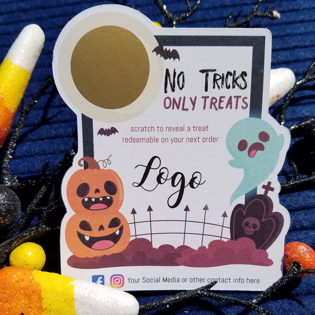 No Tricks Only Treats Halloween Scratch Off Cards