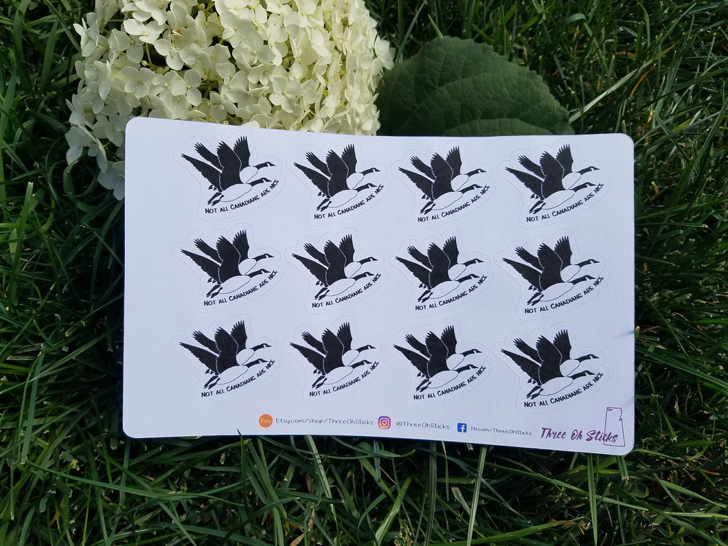 Not All Canadians Are Nice - Canada Geese Stickers