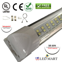 3ft Integrated LED Tube light fixture 18w 6500K 2340 lumens